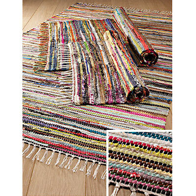 FAIR TRADE INDIAN RAG RUG CHINDI HAND LOOM RECYCLED COTTON MULTI COLOUR CHIC