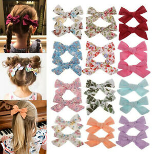 2PC-Baby-Bow-BB-Hair-Clip-Flower-Print-Cotton-Cute-Hairpin-For-Girls-Boho-Style