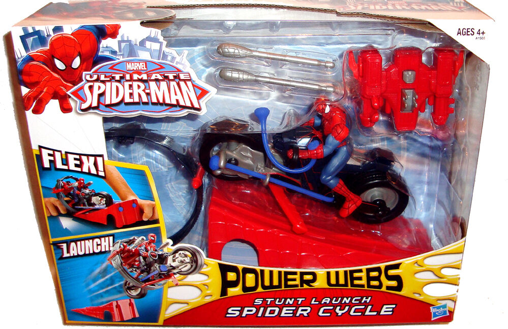 Ultimate Spiderman Stunt Launch Spider Cycle Vehicle Power Webs MIB Marvel Toy