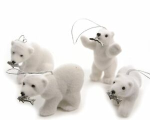 6-x-White-Polar-Bears-Hanging-Christmas-Tree-Decorations-Silver-Fish-in-mouths