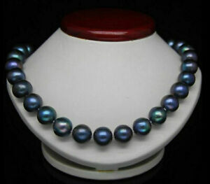 18-034-GORGEOUS-9-10MM-AAA-NATURAL-BLACK-BLUE-Tahitian-PEARL-NECKLACE-14K-GOLD