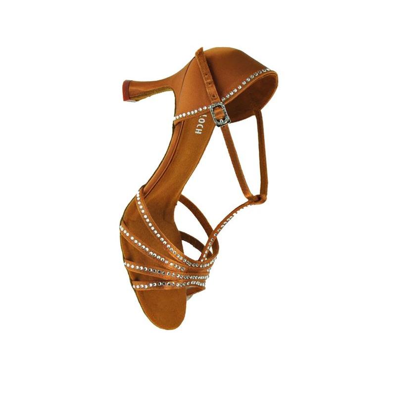 Dark Tan satin Bloch 838 Guilia latin / ballroom dance shoes - size UK 7.5