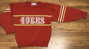 Men's Medium San Francisco 49ers NFL Pro Line Wool Sweater 1970s 80s Logo Stripe