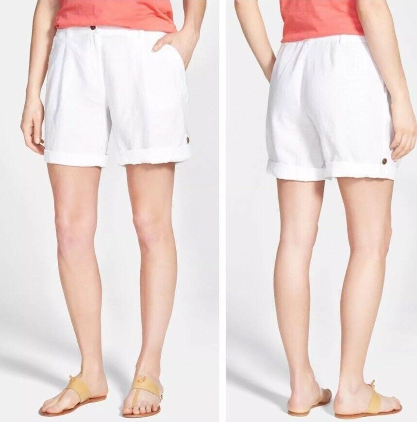 12 NWT Eileen Fisher White Organic Linen City Short With Cuff  148