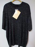 Qvc Susan Graver Women's 3x Black Sparkle Short Sleeve Sweater