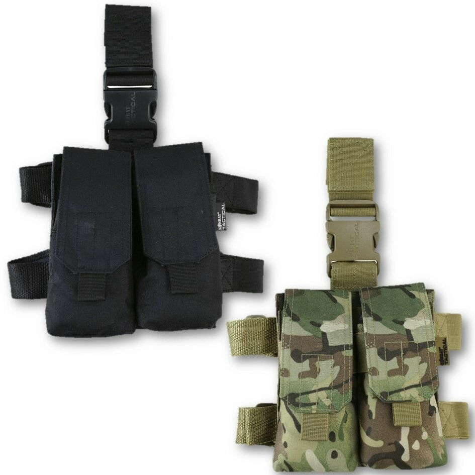 DOUBLE MAG DROP LEG HOLSTER ADJUSTABLE TACTICAL HOLDER MTP BTP POUCH HUNTING