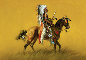 Native American Indian Horse War Chief Warrior Art Quality ...
