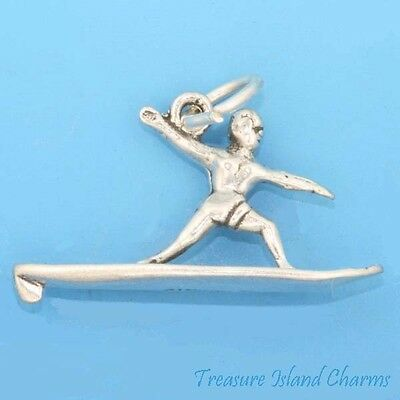 925 Sterling Silver Cross County Skiing Charm Made in USA