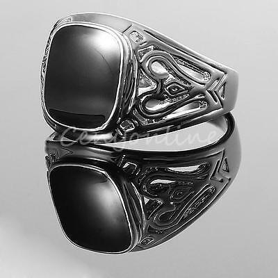 Men's Black Large Onyx Silver Stainless Steel Fancy Finger Ring Punk Jewelry