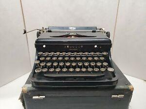 Vintage Royal Portable Typewriter Black Glass Keys w/ Case 1930s