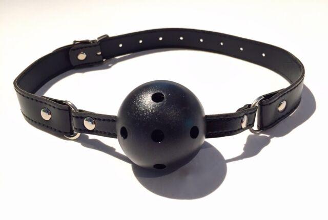 Black Breathable MOUTH BALL GAG - Leather Strap - Adult Fetish/Bondage Restraint