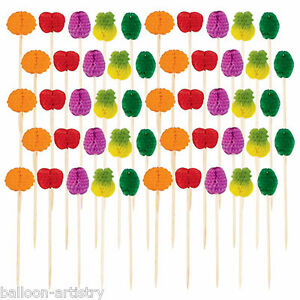 50-Tropical-Hawaiian-Summer-BBQ-Party-Honeycomb-Paper-Fruit-Snack-Picks