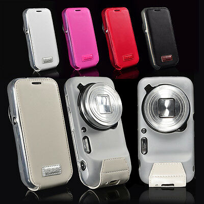 Flip Cover Case For Samsung Galaxy S4 Zoom C1010 C101 + Clear Screen Protector