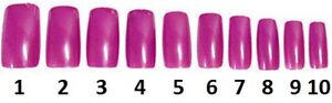 40-Nails-Of-Size-1-10-Hot-Pink-Acrylic-False-Finger-Nail-Full-Cover-Tips-Beauty