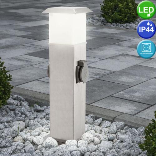 Edelstahl Design LED Außen Stand Leuchte mit Steckdosen Garten Steh Lampe Licht
