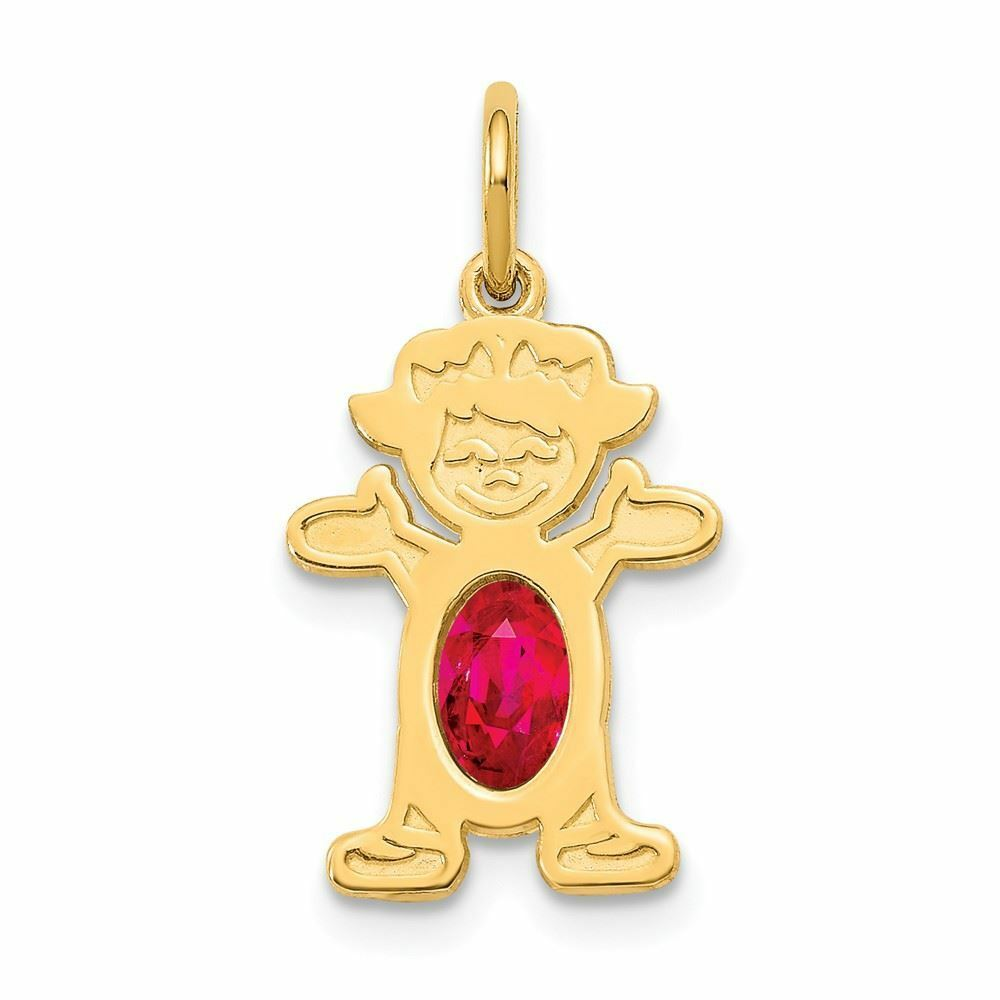 14K gold 6 X 4 Oval Genuine Ruby July Birthstone Girl Charm Pendant MSRP  167
