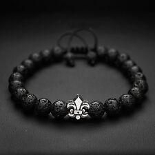 Mens 8mm Lava Stone and Fleur De Lis Figure Royal Beaded Bracelet Adjustable
