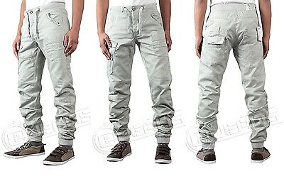 NEW MENS DESIGNER ETO JEANS EM354 CUFFED LIGHT GREY CHINOS *BARGAIN SALE PRICE*