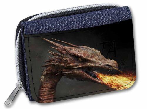 DRAG-2JW Fierce Fire Flame Mouth Dragon Girls//Ladies Denim Purse Wallet Christm