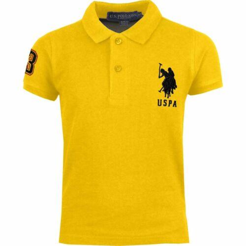 Kids US Polo Assn USPA Boys Children PE School Cotton Polo T Shirt Top 4-12 Y