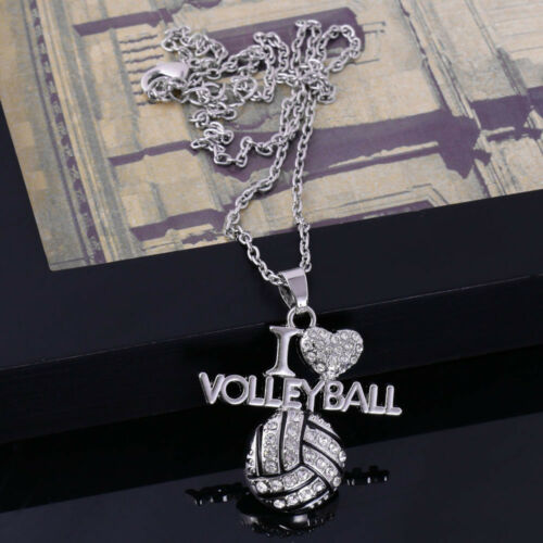 Necklace Rhinestone Love Volleyball Silver Pendant Chain Alloy Jewelry Fancy Hot