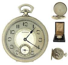 Men's Antique Howard 14K 585 White Gold Boston 44mm Pocket Watch w/ Box