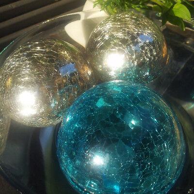 UnermüDlich Schwere Schwimmkugel 10cm Türkis Silberantik Craque Kugel Glas Dekoration Metall
