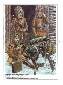 PLANCHE-UNIFORMS-PRINT-WWI-GUERRE-DES-TRANCHEES-WAR-OF-TRENCHES-RUSSIA-ARMY
