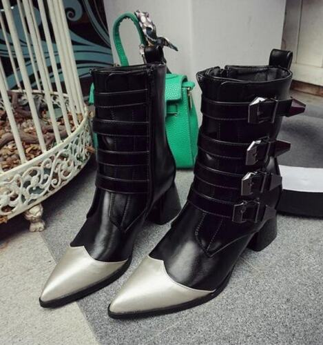 Details about  /Fashion Women Strappy Buckle Ankle Boots Block Med Heels Pointy Toes Party Shoes