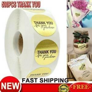 500Pcs//1 Roll Thank you Stickers Wedding Flower Baking Handmade Adhesive Label