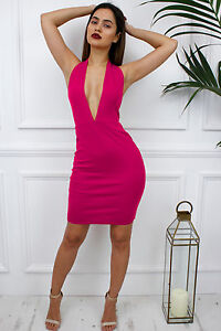 0182236989 Image is loading Glamzam-New-Womens-Ladies-Pink-Plunge-Backless-Halterneck-