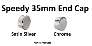 Speedy Poles Apart 35mm End Cap Curtain Pole Finials 2 Pack Chrome-Satin Silver