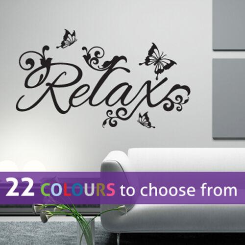 beauty salon spa RELAX and BUTTERFLIES wall sticker art decal bedroom bathroom