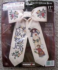 New Dimensions Debbie Mumm Peace Love Joy Front Door Bow Counted CrossStitch Kit