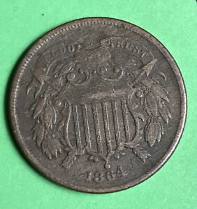 1864-2c-Two-Cent-Piece-Vf-Very-Fine-Civil-War-Date-First-Year-Of-Issue