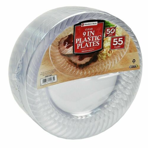 """Member/'s Mark Clear Plastic Plates 9/"""" 55 ct Durable Design Great for Parties"""