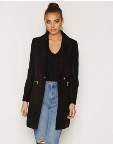 Topshop PETITE Black Meg Jacket Coat Slim Zip Pocket Boyfriend Crombie  4 to 16