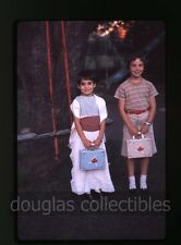1961 35mm Ektachrome Photo slide Tween Girls with Ballerina lunch boxes