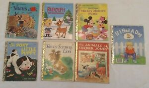 7-Little-Golden-Books-Lot-Mickey-Mouse-Rudolph-Noah-039-s-Ark-Lion-Dog-Puppy-Farm