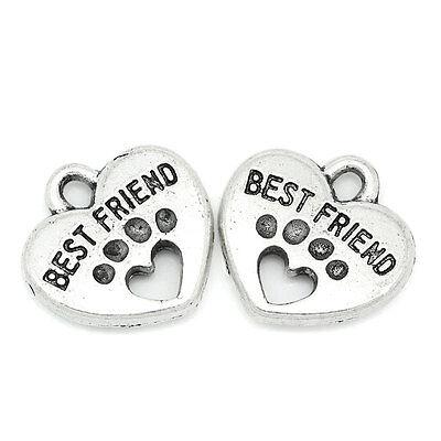 G0 30PCs Charm Antique Silver Pendants Carved Letter Dog Paw Best Friend