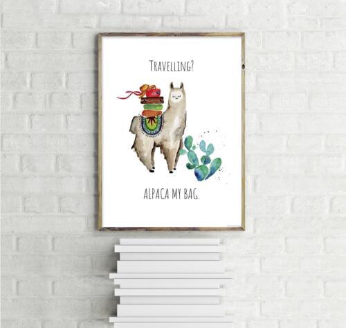 Art Print Mini Poster 30 x 40 cm Kunstdruck Janette Alpaca My Bag Travelling