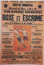 """""""BOXE et ESCRIME VERDUN 1925"""" Affiche originale entoilée  Litho FARIA 88x126cm"""