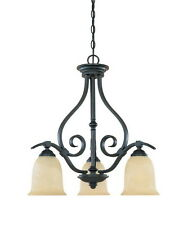 Burnished Bronze And Tea Stained Alabaster Glass 3 Light Chandelier