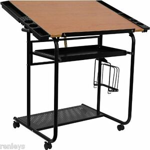 Portable Drafting Table Wheeled Casters Adjustable Drawing Desk Work Station