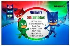 1 X PJ MASKS SUPERHERO CHILDRENS BIRTHDAY PERSONALISED INVITATIONS MAGNETS
