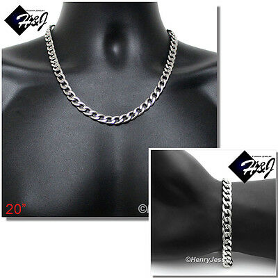 "20""MEN Stainless Steel WIDE 8.5mm Silver Cuban Curb Chain Necklace Bracelet SETS"