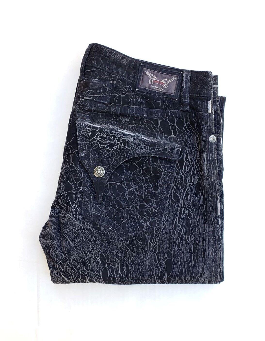 Neu Herren ROTKEHLCHEN Jeans Größe 38 Gerades Bein -schwarz Knisternde Waschen