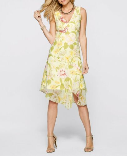 Ravissante robe à fleurs pression dans saumon imprimé-Taille 50-q6463-968279