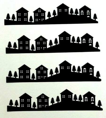Houses Trees Silhouettes Die Cuts 4 Pieces Embellishment Crafts Scrapbooking DIY