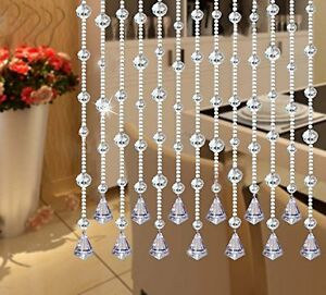 "Fushing 5Pcs 59"" Clear Crystal Garland Wedding Bead Strands With Free Pendants"